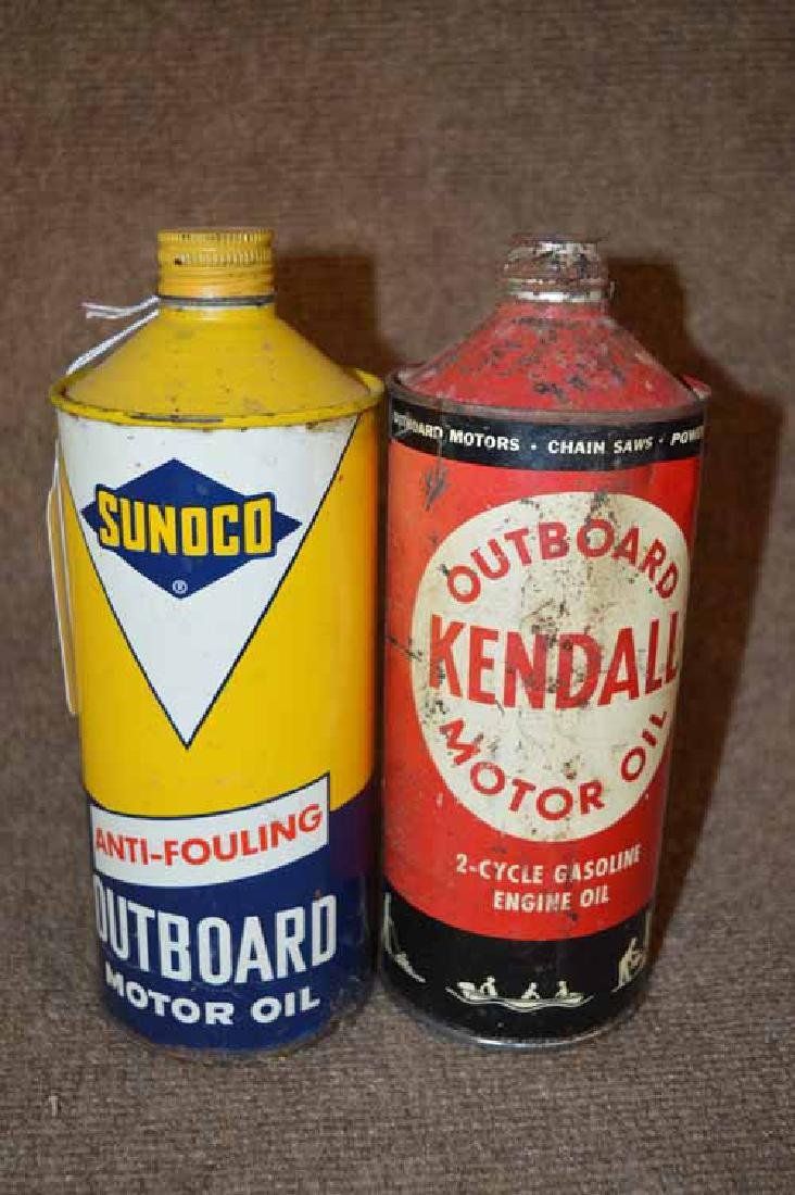 Sunoco & Kendall 1 Qt. Outboard Motor Oil Cans