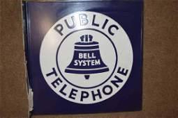 Porcelain Bell Public Telephone Flange Sign