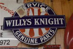 Enamel Willies Knight Service & Genuine Parts Sign
