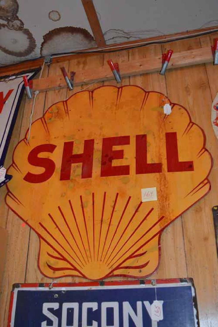 Shell Porcelain Double sided Sign