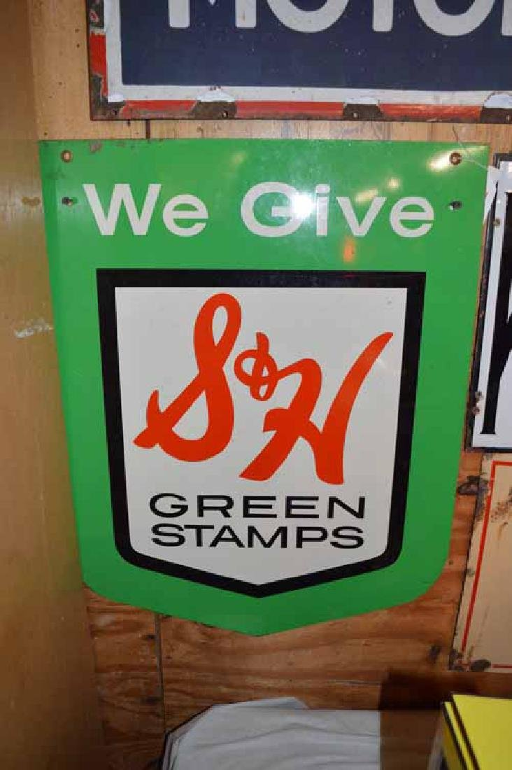 S & H Green Stamps Double Sided Tin Sign