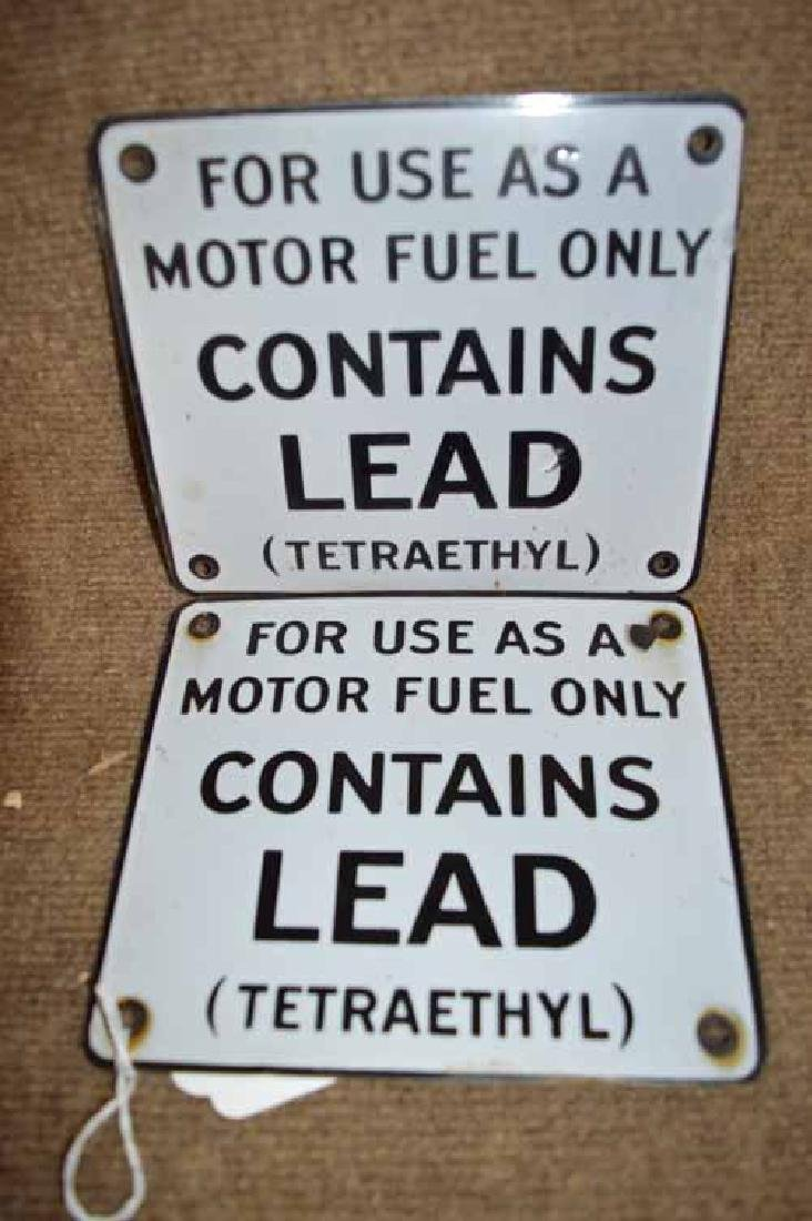 """(2) Porcelain Pump Plates """"For Use as a Motor Fuel Only"""