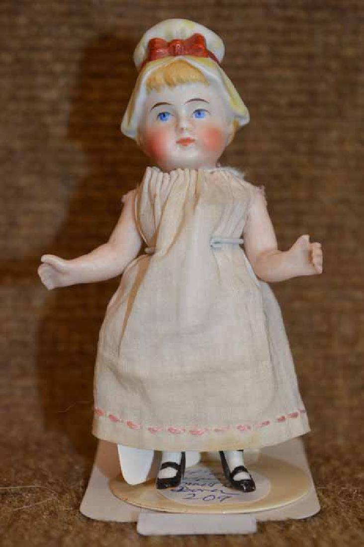 "4"" All Bisque Bonnet Head Doll"