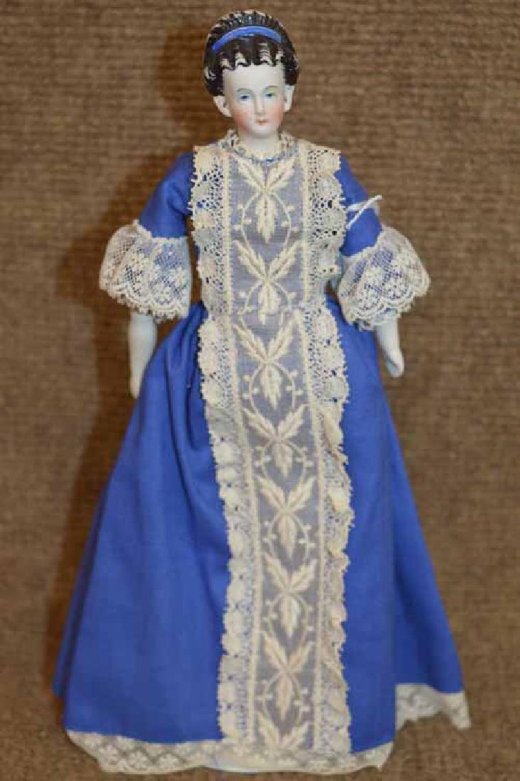 """9"""" Parian Shoulder Head Doll on Cloth Body"""