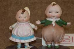 (2) All Bisque Happifats Character Dolls