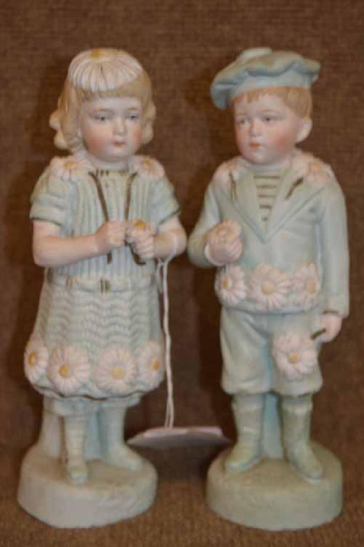 "Pr of 9 1/2"" Bisque Figurines"