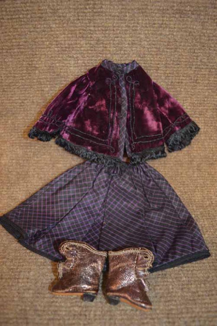 Hhand sewn purple plaid silk skirt w/velvet top