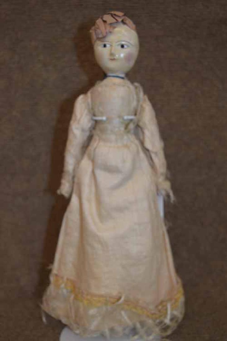 "Circa 1800's  13"" Wooden Queen Anne Type Doll"