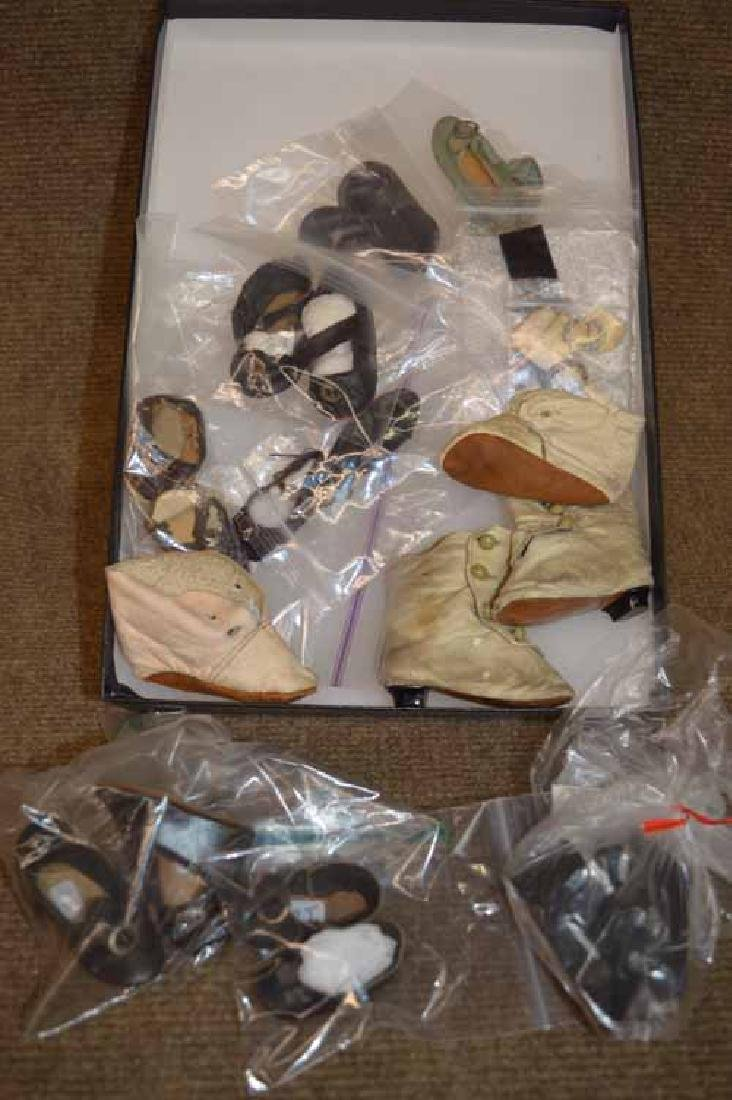 Box Lot of Antique Doll Shoes