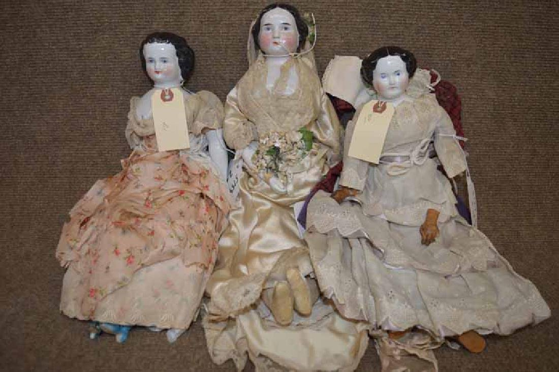 Grp of (3) Black Haired China Dolls