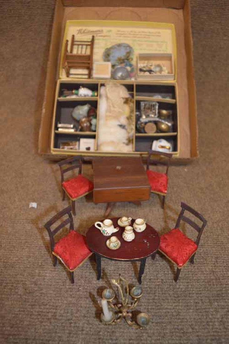 Box Lot of Doll House Furniture & Accessories
