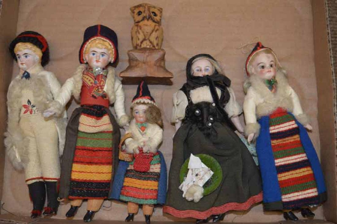 Grp of 5 Sm German Bisque Dolls & Carved Wooden Owl