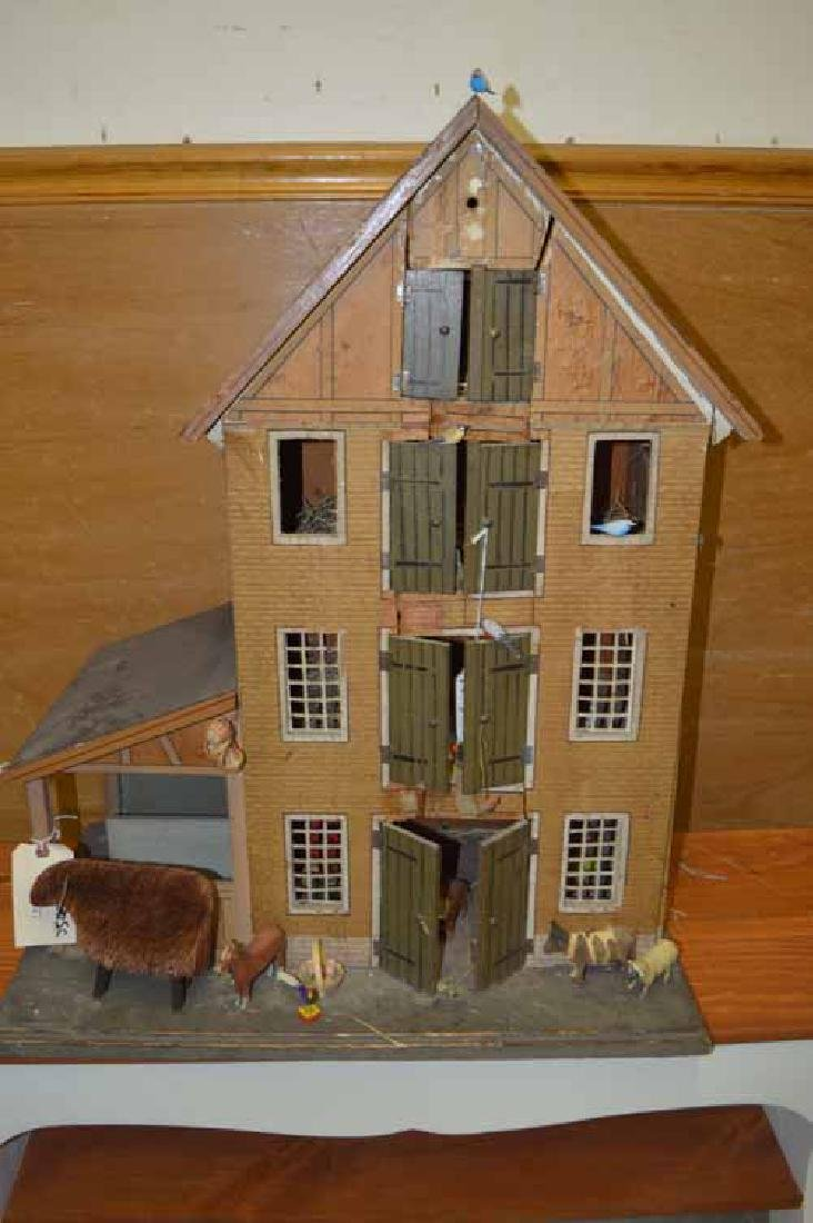 "1890's (4) Story Wooden Doll House ""Barn"" with Outside"