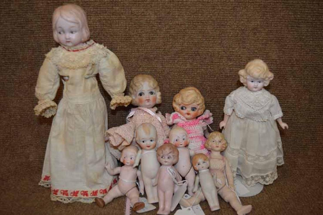 Box Lot of 10 Bisque Dolls