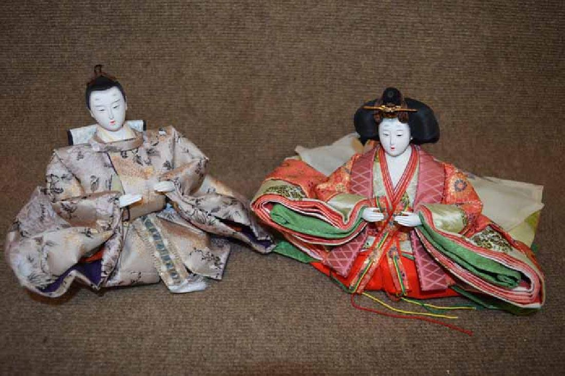 Two Oriental Japanese Emperor & Empress Dolls