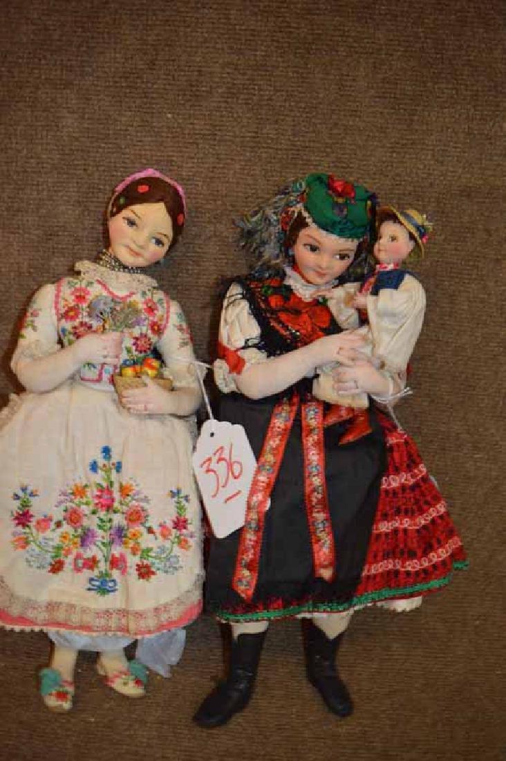 "Pr of 16"" Hungarian Cloth Dolls"