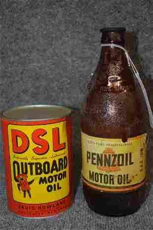 DSL OIL CAN & PENNZOIL BOTTLE