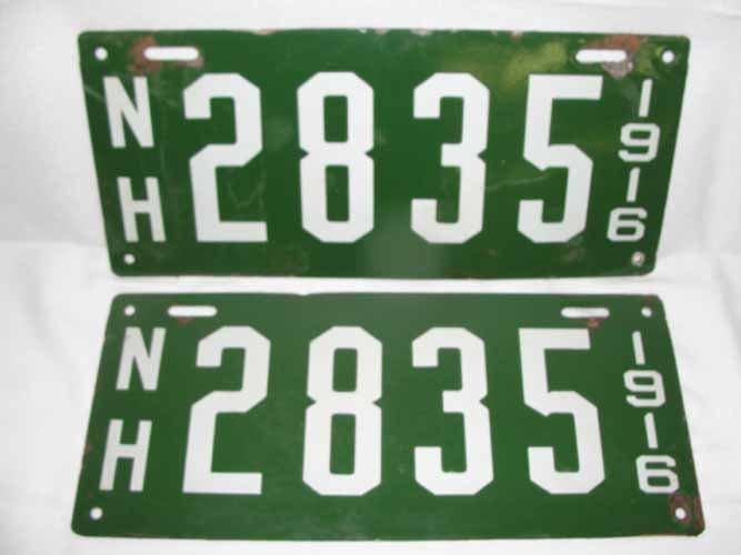5: NH Porcelain License Plates