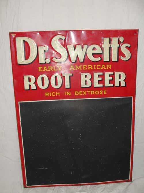 123 dr swett s tin root beer menu sign