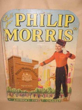 1: Philip Morris Cardboard Advertising Sign