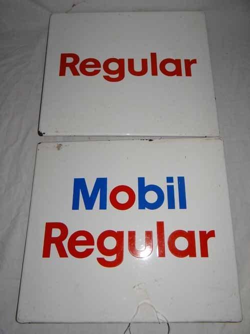 (2) Mobil Regular & Regular Pump Signs