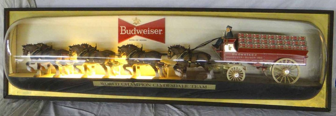 Budweiser Clydesdales & Wagon Light Up Sign - 2