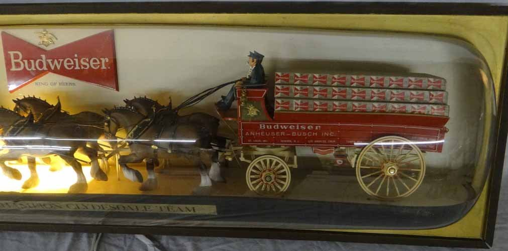 Budweiser Clydesdales & Wagon Light Up Sign - 4