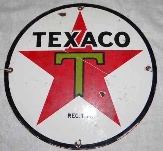 Texaco Sign RND Porcelain