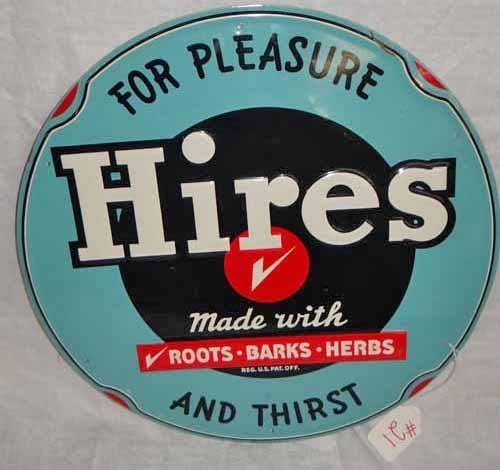 """""""Hires For Pleasure"""" Root Beer Round Tin Sign"""