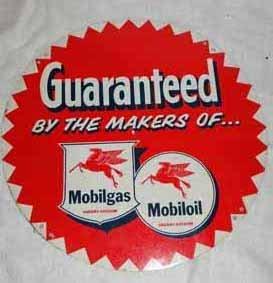 Mobil Gas Tin Tire Sign With Pegasus