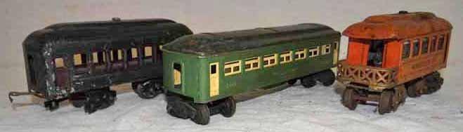 (3) Tin Lionel Train Cars