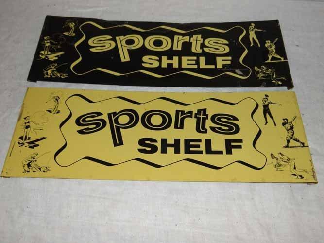 (2) Tin Sports Shelf Signs