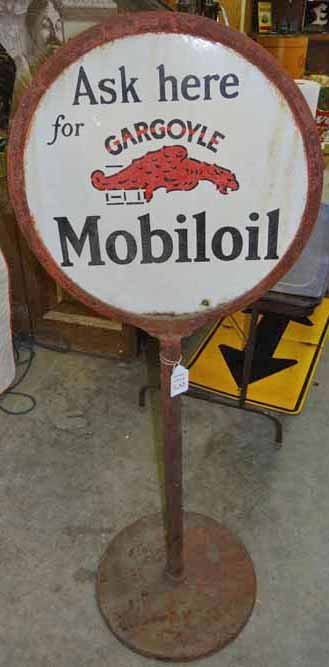 Porcelain Double Sided Gargoyle Mobil Oil Lollipop Sign