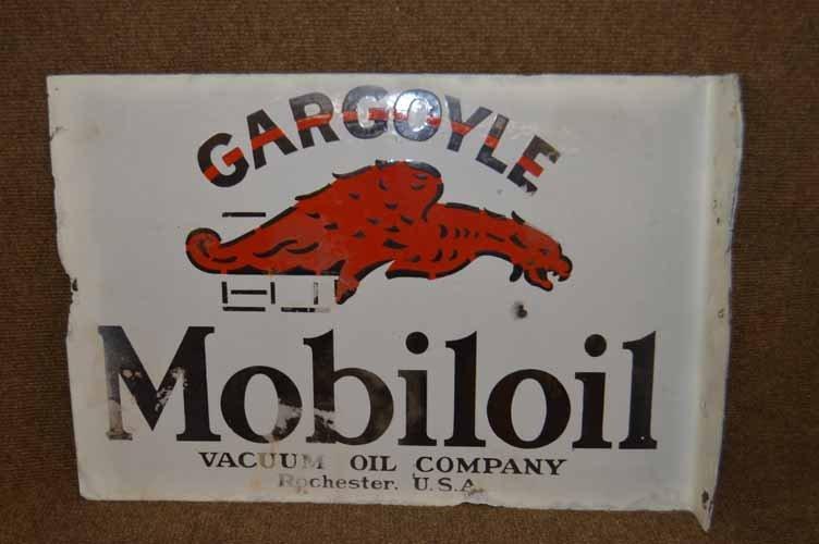 Mobiloil Porcelain Gargoyle Flange Sign