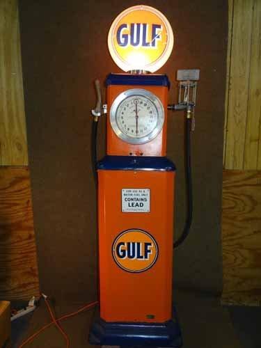 Gulf Clock Face 1928 Martin & Swartz #103 Restored Gas