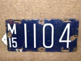 1915 Motorcycle License Plate