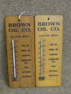(2) Wooden Thermometers