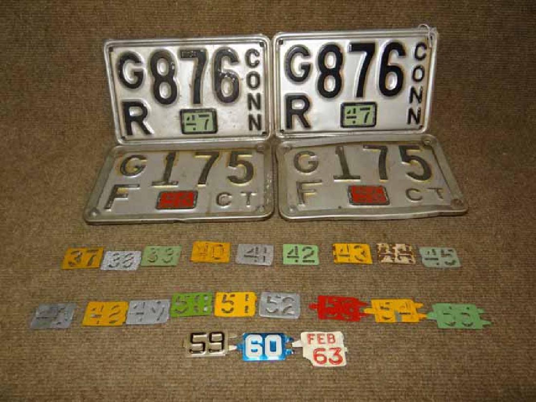 2 Pair CT 1956 & 1947 License Plates