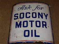 """Porcelain """"Ask for Socony Motor Oil"""" Curved Pump Sign"""