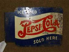 Tin Ice Cold Pepsi Cola Sold Here Double Sided Flange