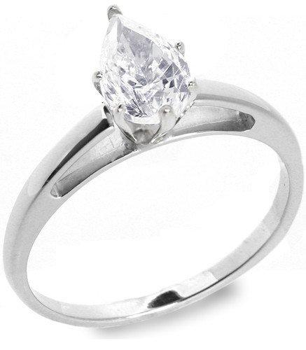 8: 1.01 ctw E/VS2 Pear diamond solitire ring