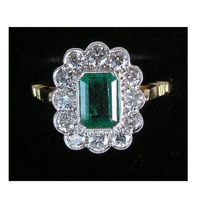 14: Columbian emerald & Diamond ring