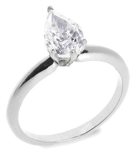 8: 1.00 ctw G/VS2 Pear diamond solitire ring