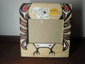 13: Native Hand carved and painted photo frame