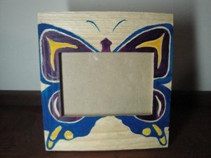14: Native Hand carved and painted photo frame