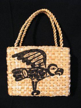 Native Yellow Cedar & Painted Hand Bag
