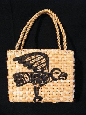 15: Native yellow cedar & Painted hand bag