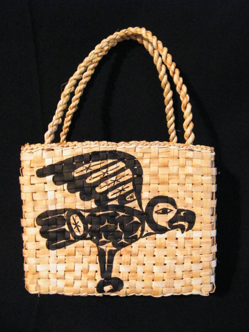 15: Native yellow cedar & Painted hand bag