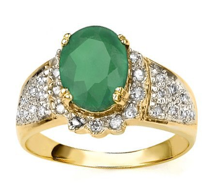 5: Diamond & Emerald solid Gold ring