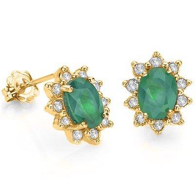 6: Diamond & Emerald solid Gold ear ring